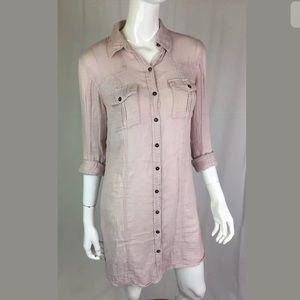 Anthropologie Free People Pink Gauze Shirt Dress